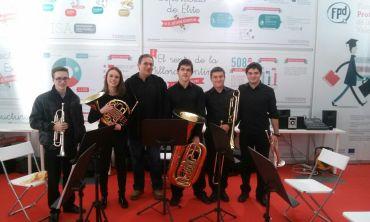 Quinteto de metales del CPMT con el profesor J.Vicent Galán Casañ.
